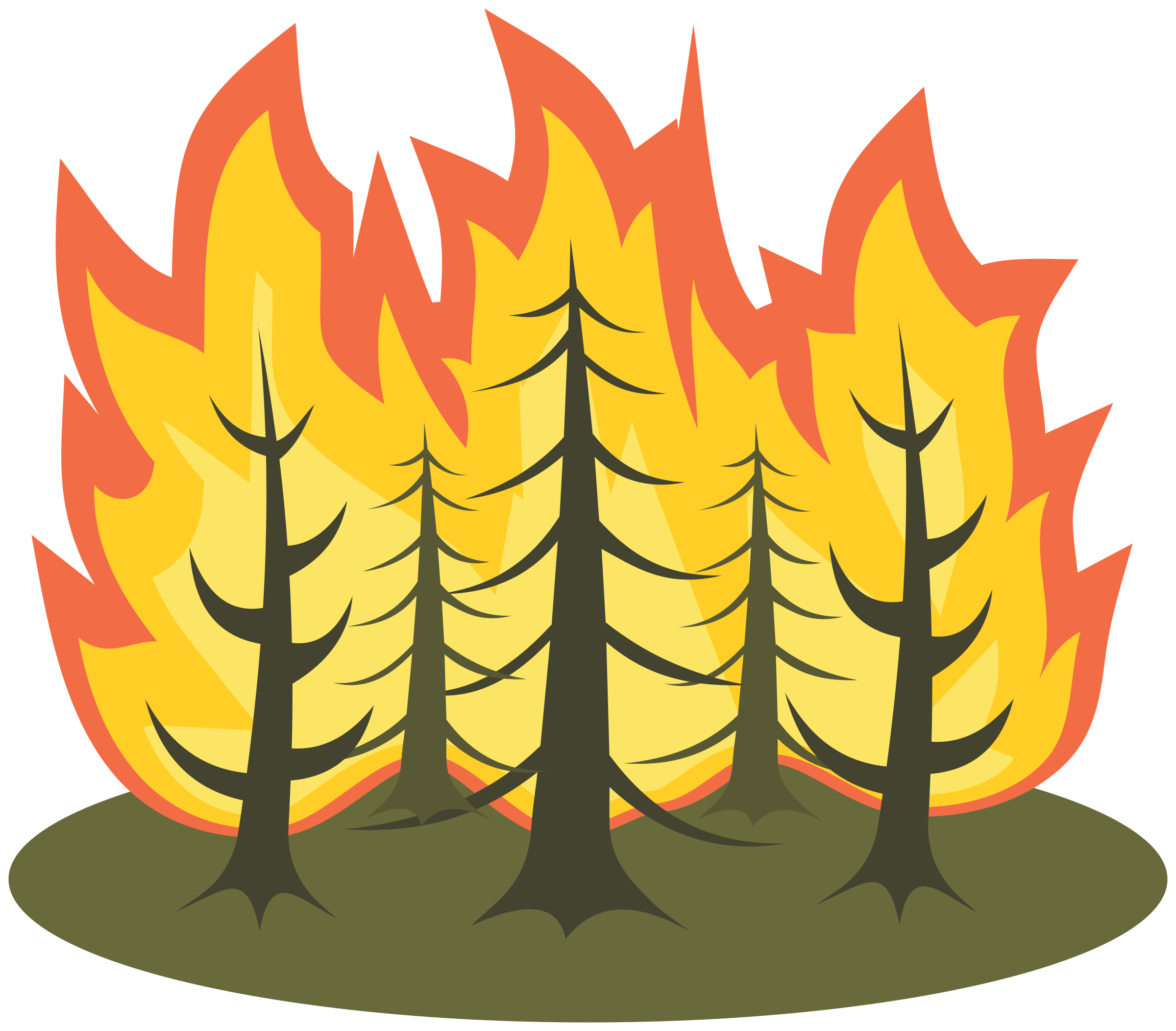 Forest fire group. Clipart flames pdf