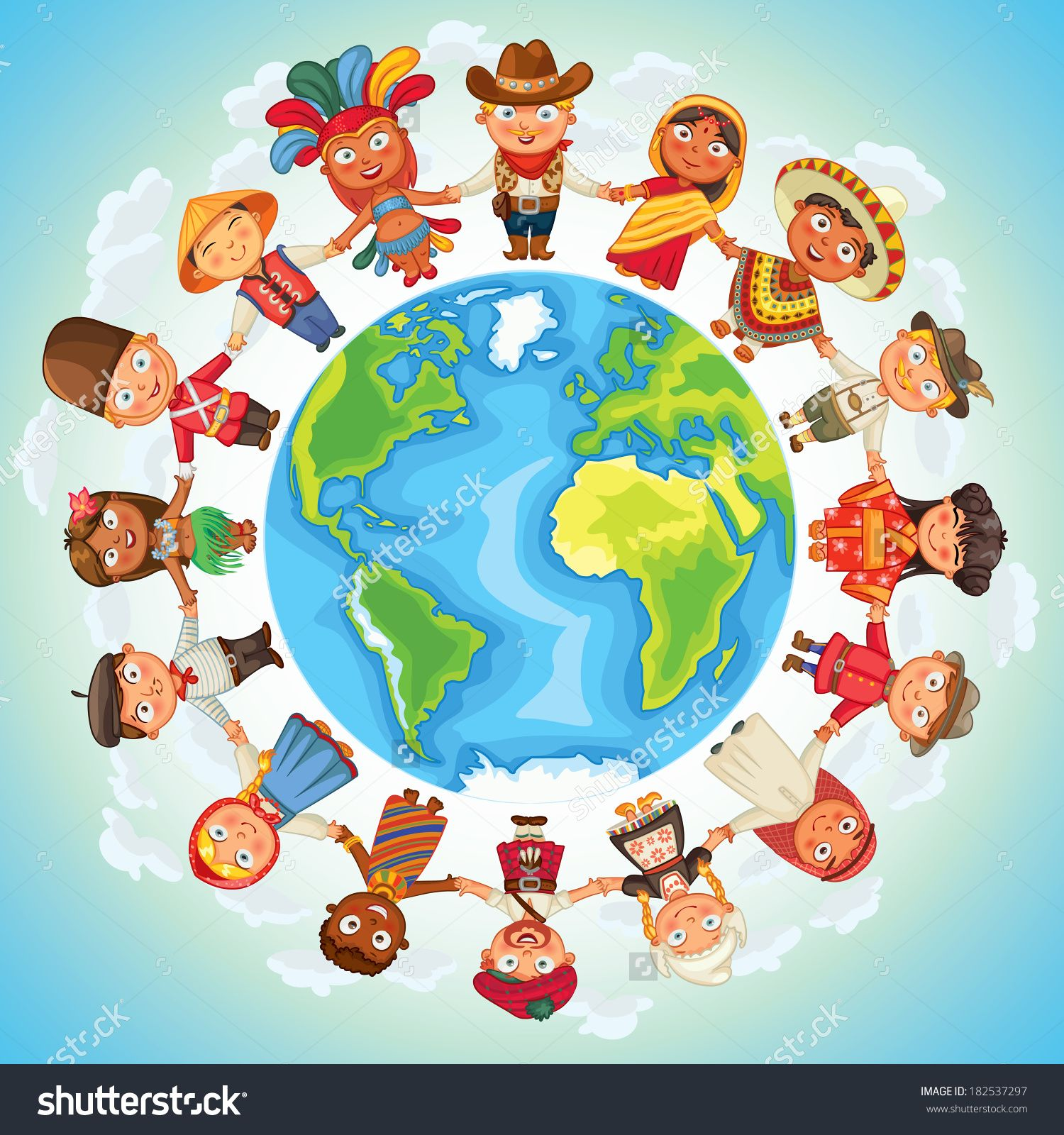Multicultural character on planet. Globe clipart culture
