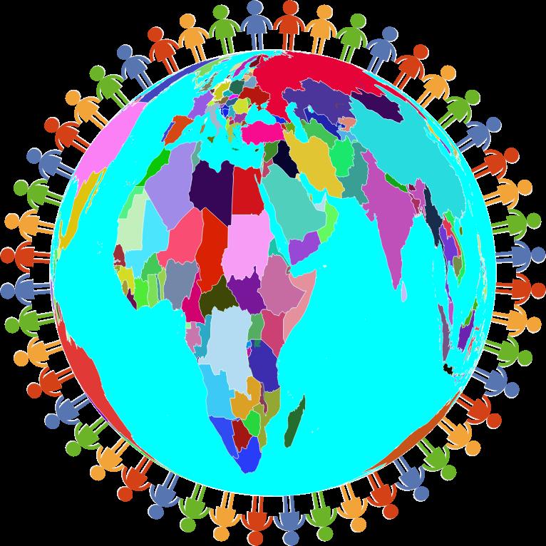 Prismatic diverse human family. Clipart earth diversity
