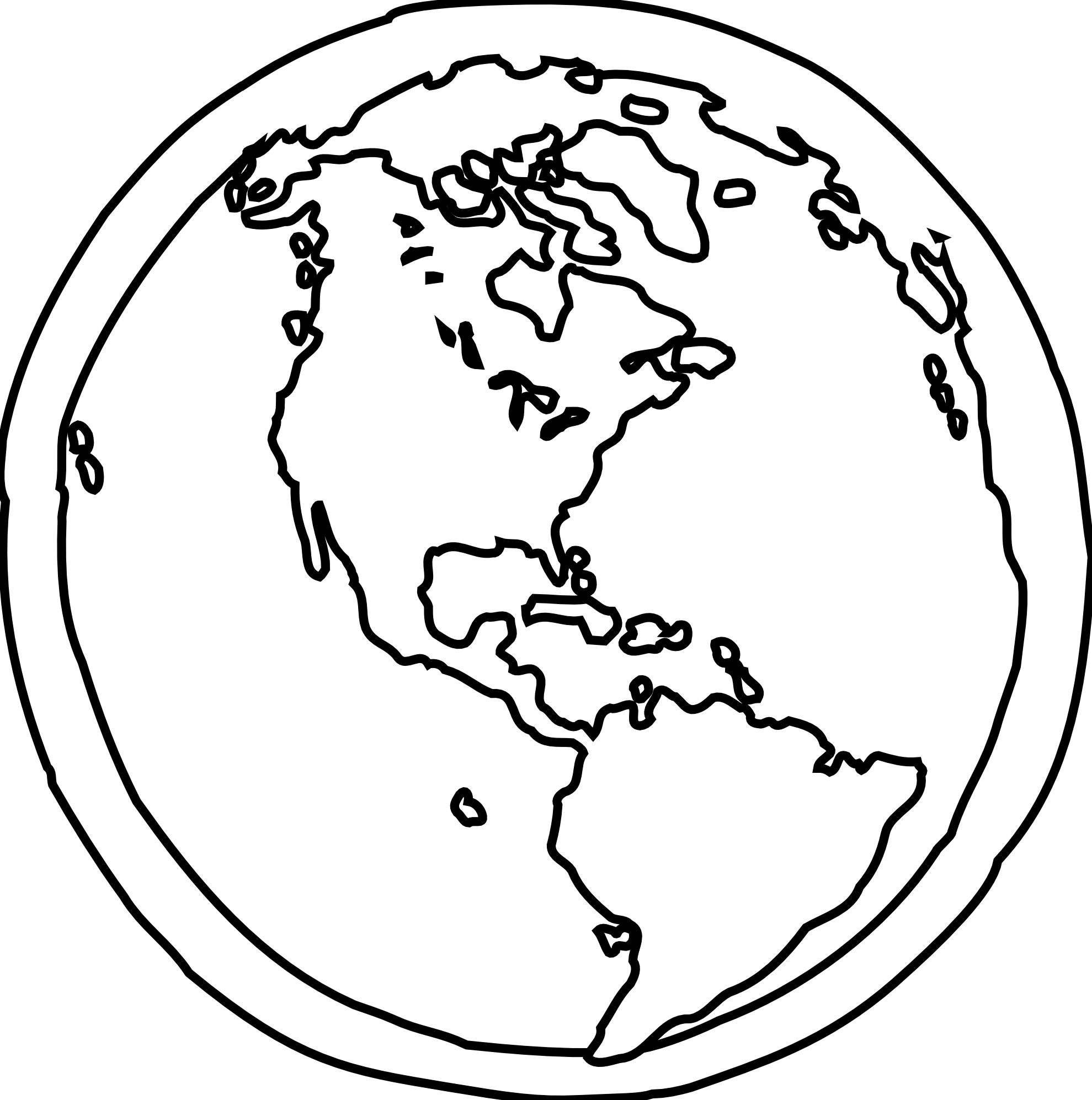Black and white earth. Planet clipart outline