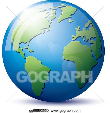 Vector art icon globe. Clipart earth easy