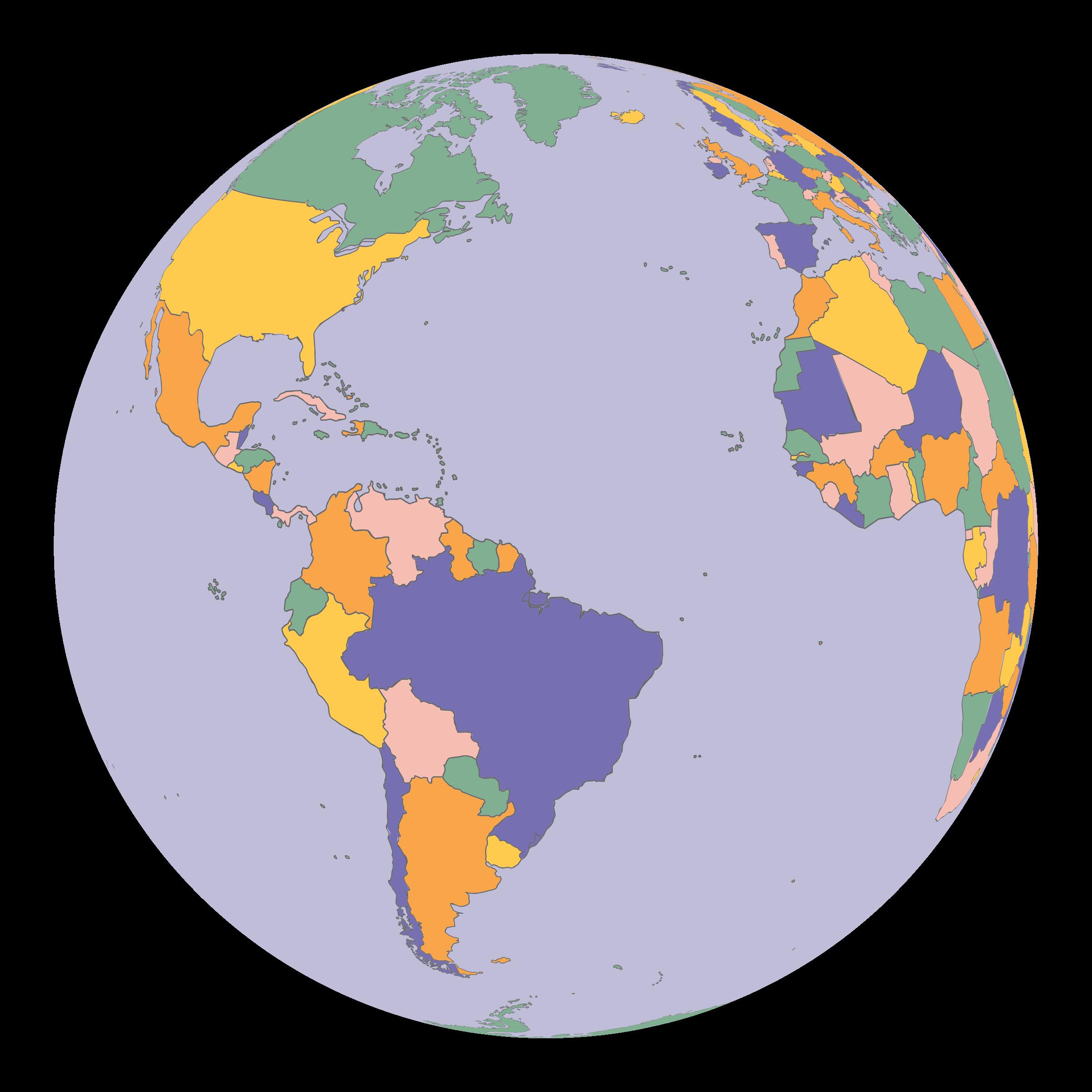 Political map globe big. Clipart world earth half