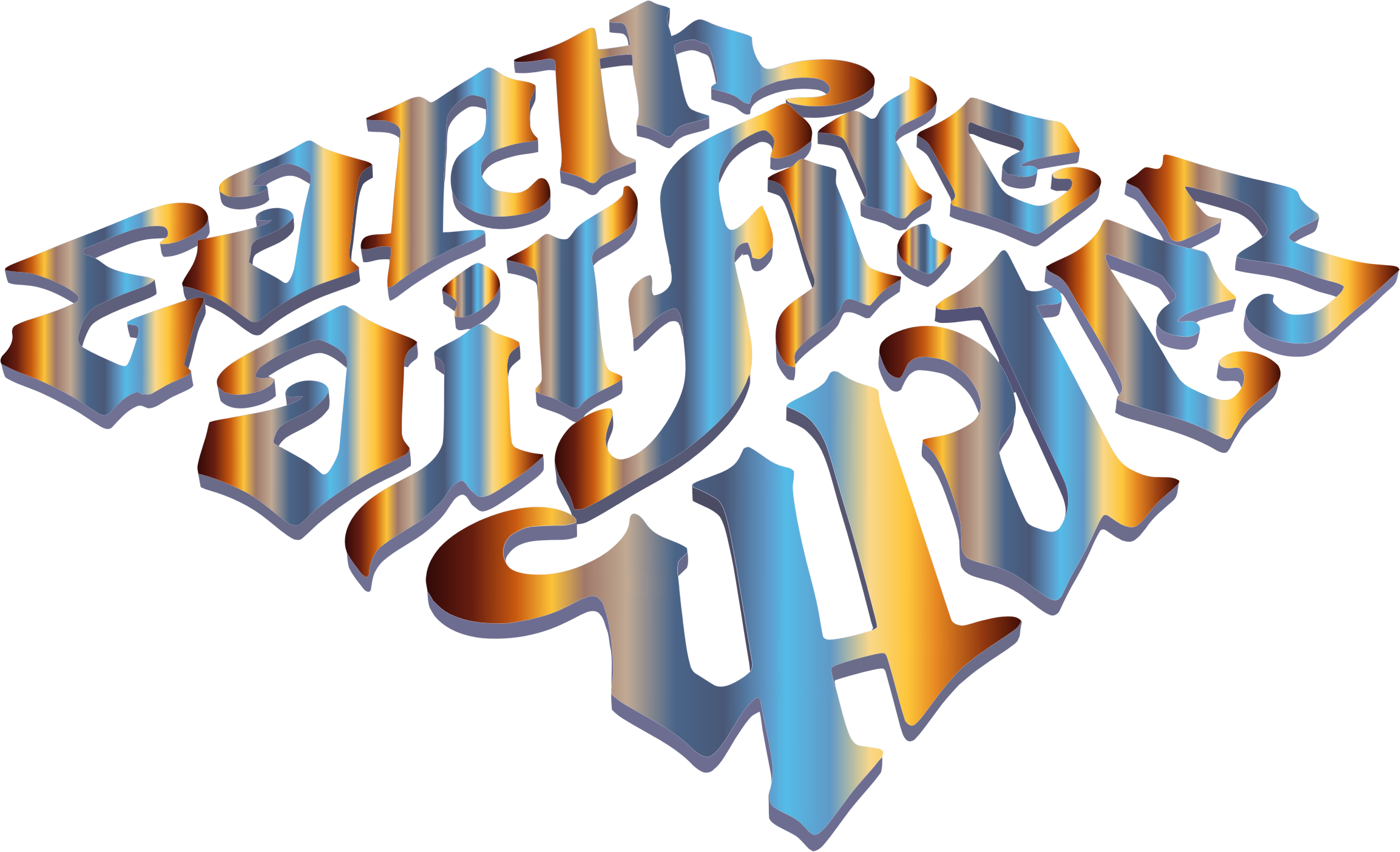 Earth air fire ambigram. Color clipart water