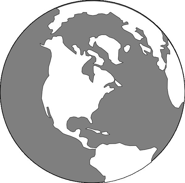 World clip art at. Clipart earth grey