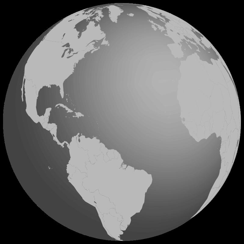 Clipart earth grey. Grayscale globe medium image