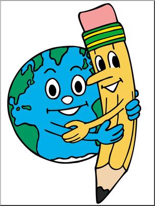 Clip art cartoon earth. Hugging clipart pencil