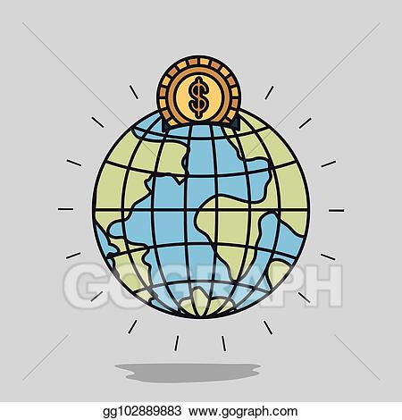 Vector art color image. Clipart earth money