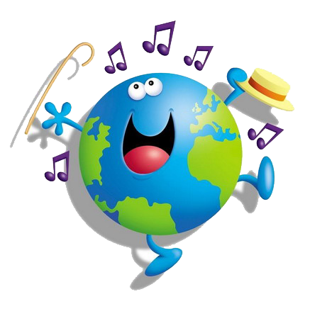Around the world clip. Clipart earth music