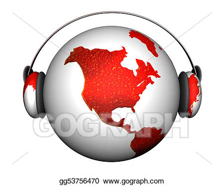 Stock illustrations with headphones. Clipart earth music