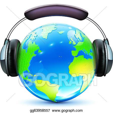 Clipart earth music. Vector art global concept