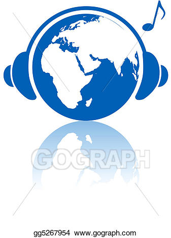 Clipart earth music. Eps illustration world headphones