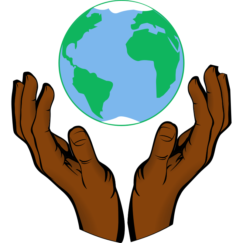 Clipart earth outline. In hands