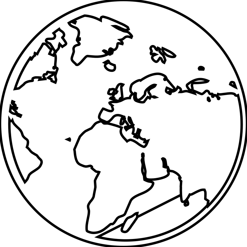 Earth black and white. Peace clipart world drawing