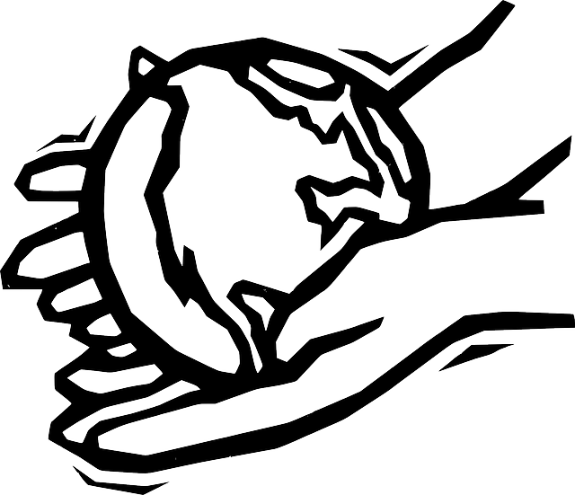 Black two outline globe. Handshake clipart helping hand