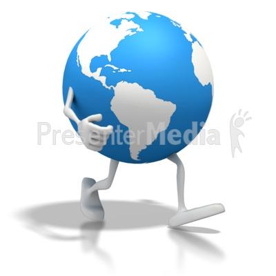Clipart globe item. Cartoon earth walking presentation