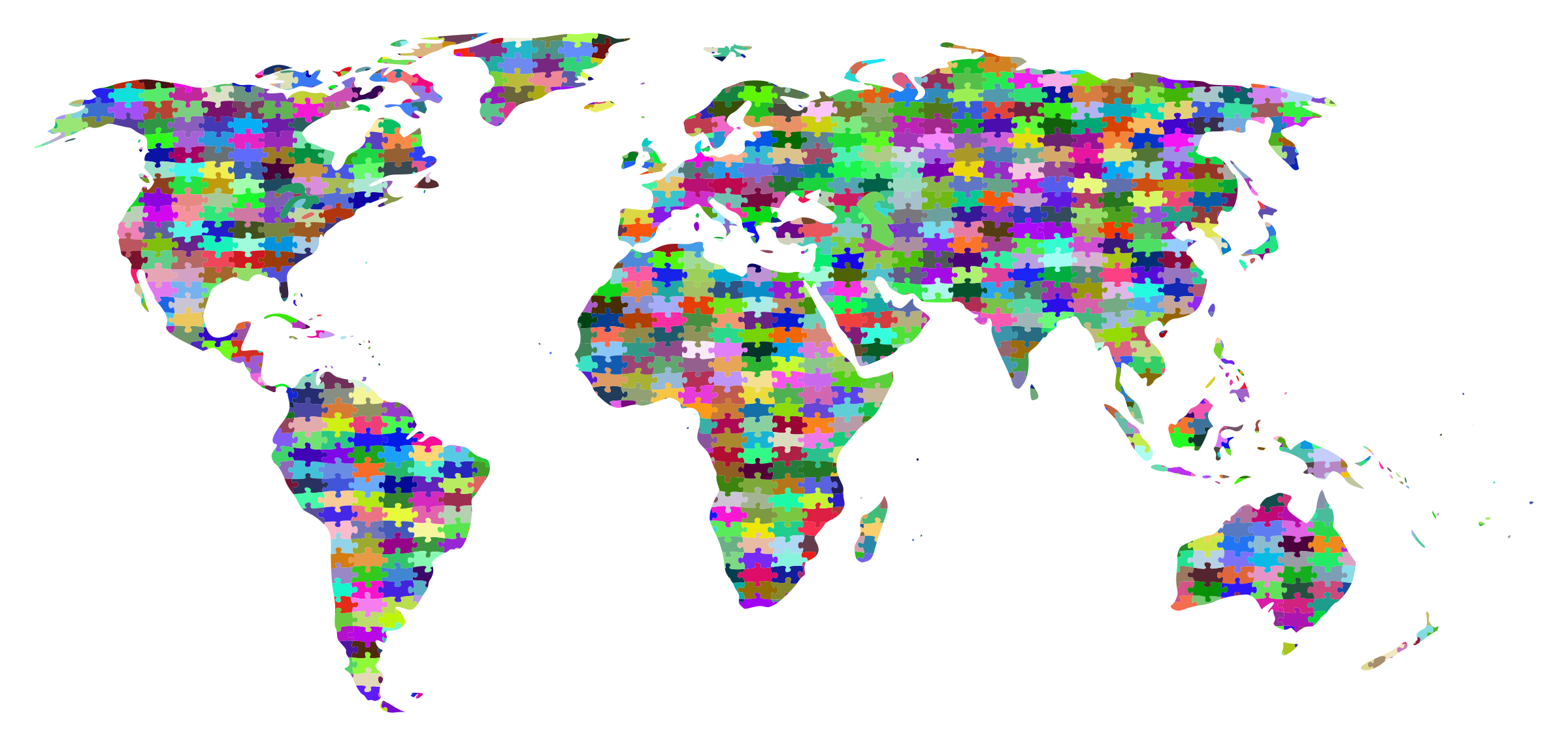 Prismatic jigsaw world map. Earth clipart puzzle
