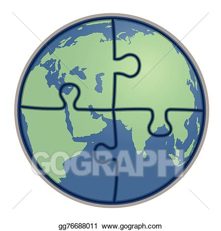 Eps illustration vector gg. Clipart earth puzzle