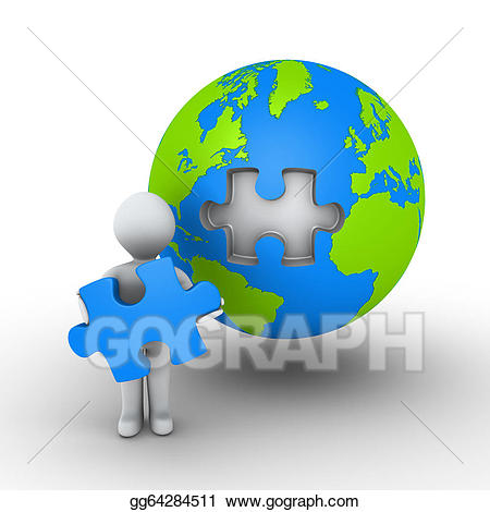 Stock illustration person holding. Earth clipart puzzle
