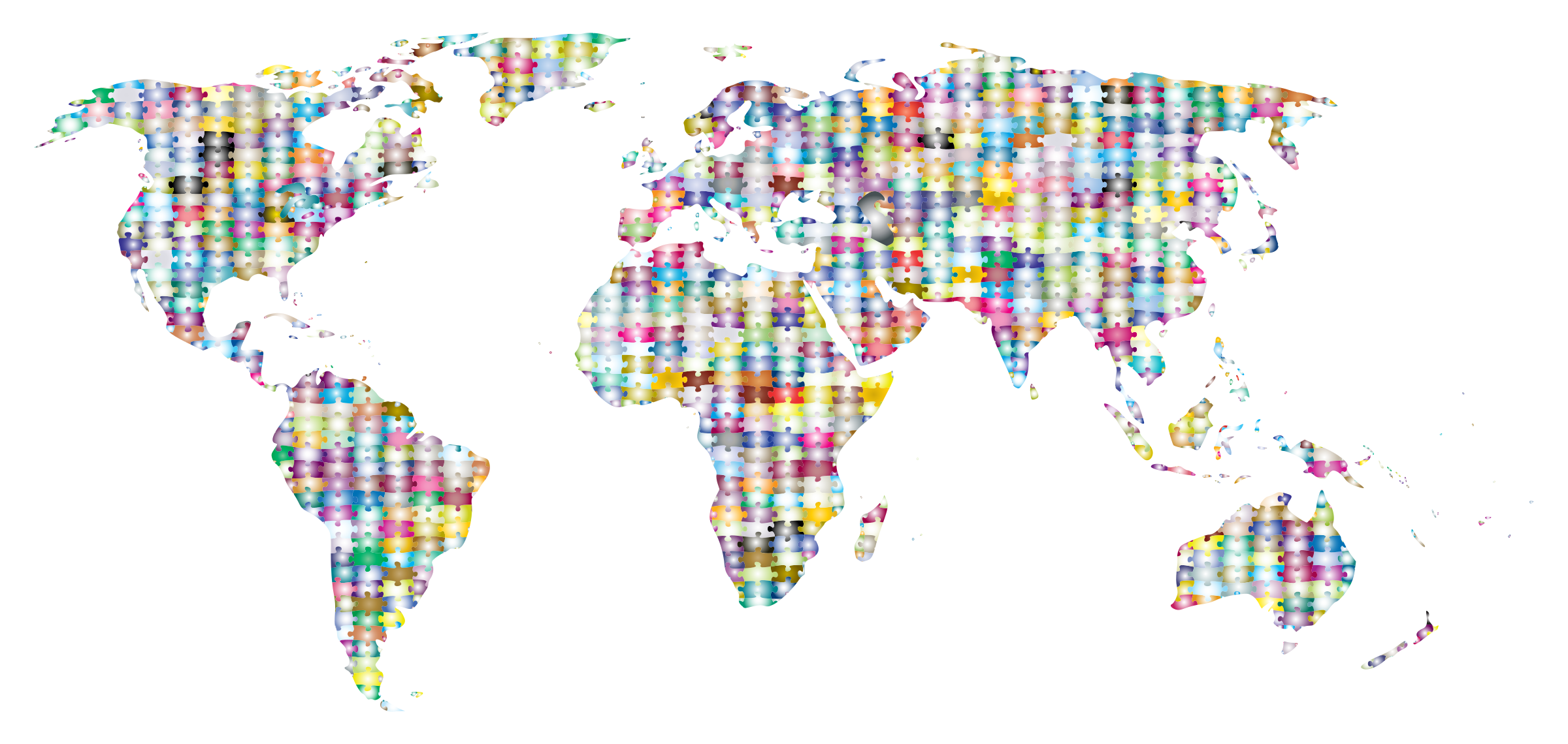 Prismatic jigsaw world map. Puzzle clipart earth
