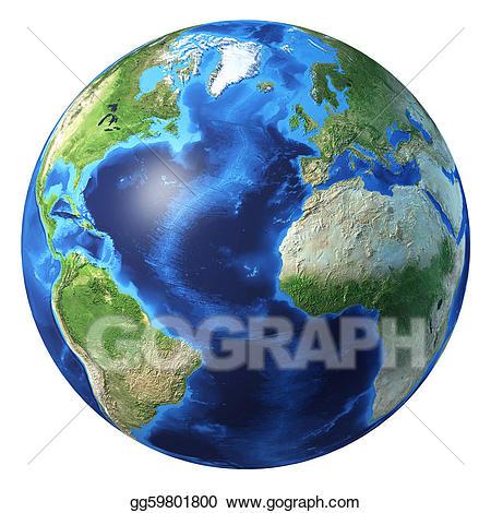 Clipart earth realistic. Globe d rendering atlantic