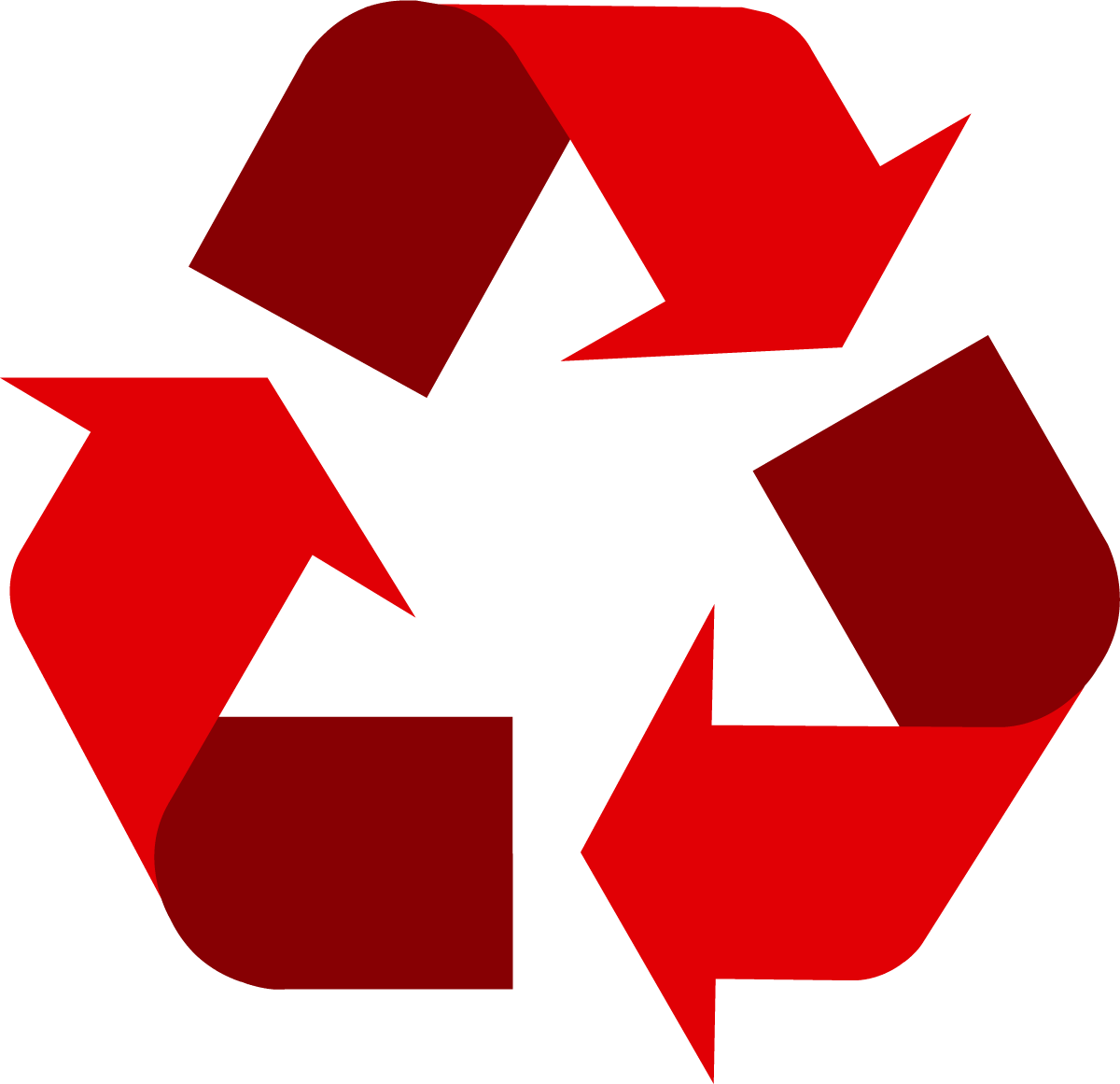 Red universal symbol logo. Clipart earth recycling