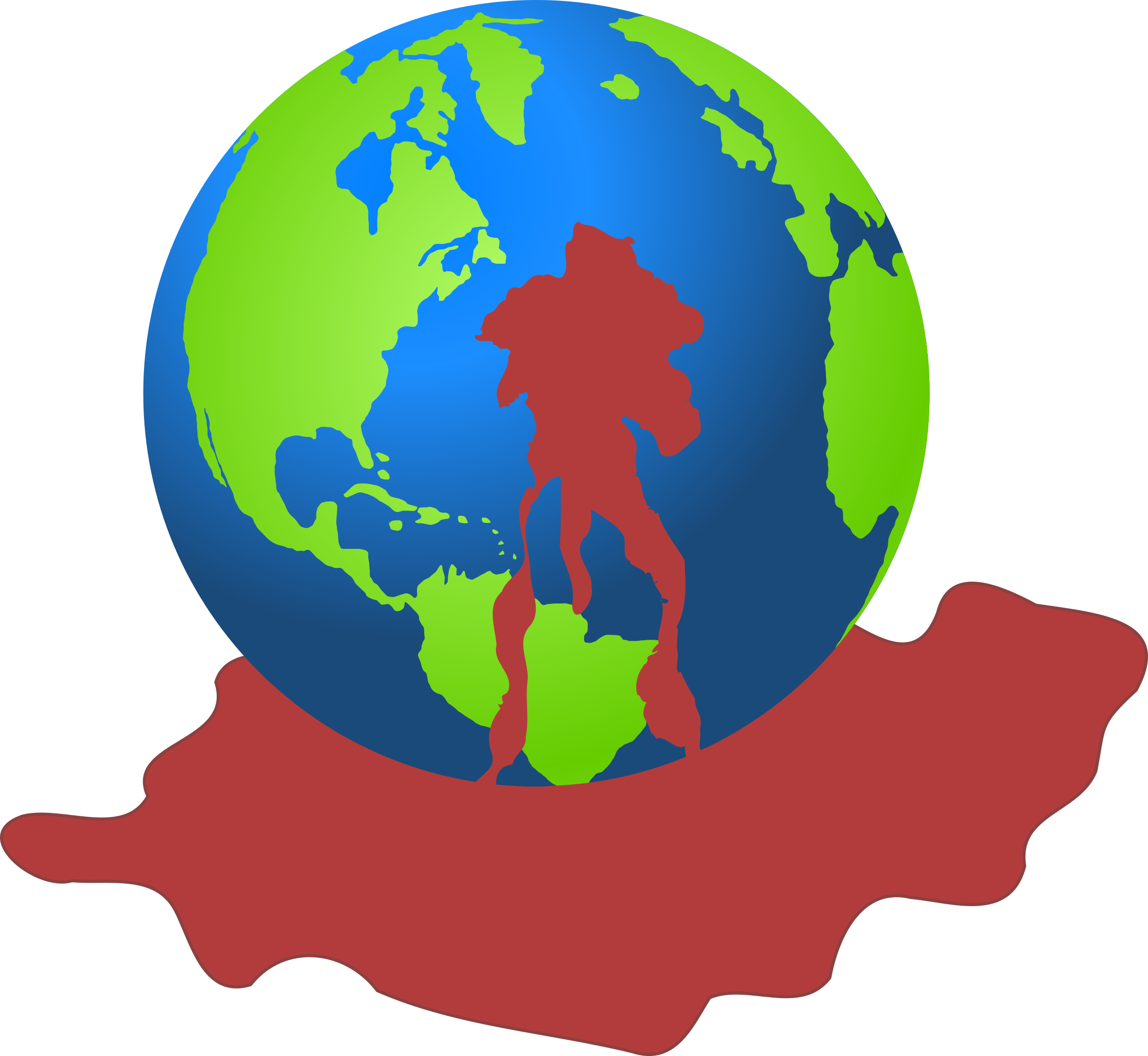 Bloody earth big image. Globe clipart polluted