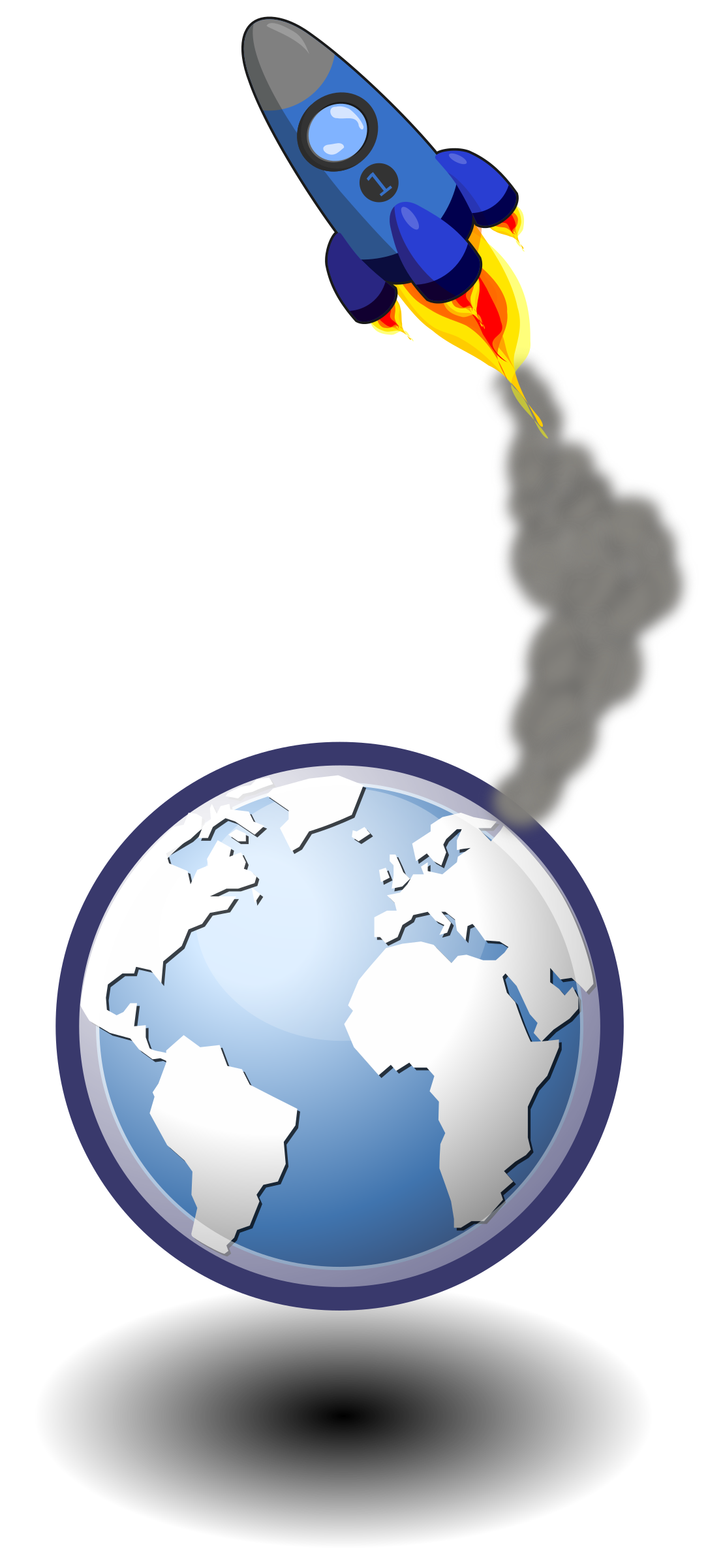 In the sky big. Clipart earth rocket