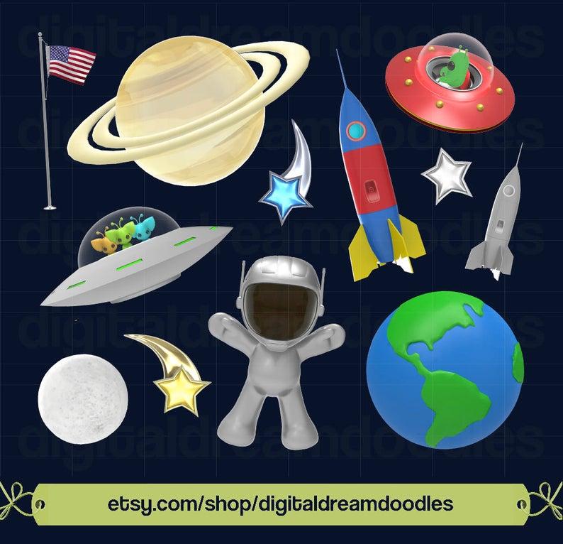 Space clip art astronaut. Planets clipart rocket