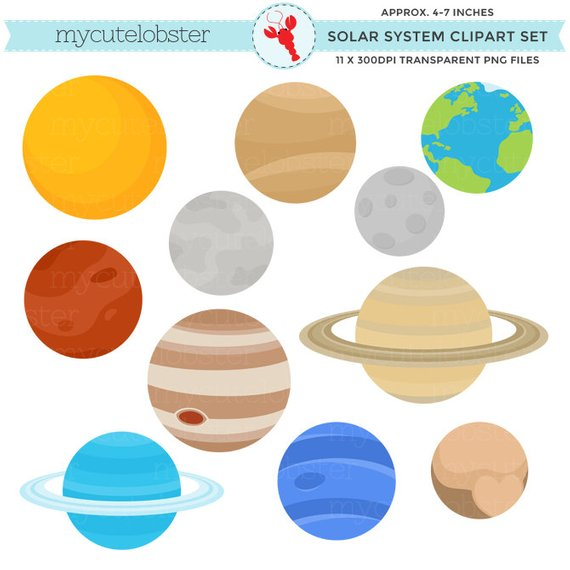 Planets clipart painting. Solar system set clip
