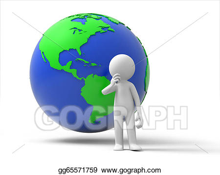 Drawing about gg . Clipart earth thinking
