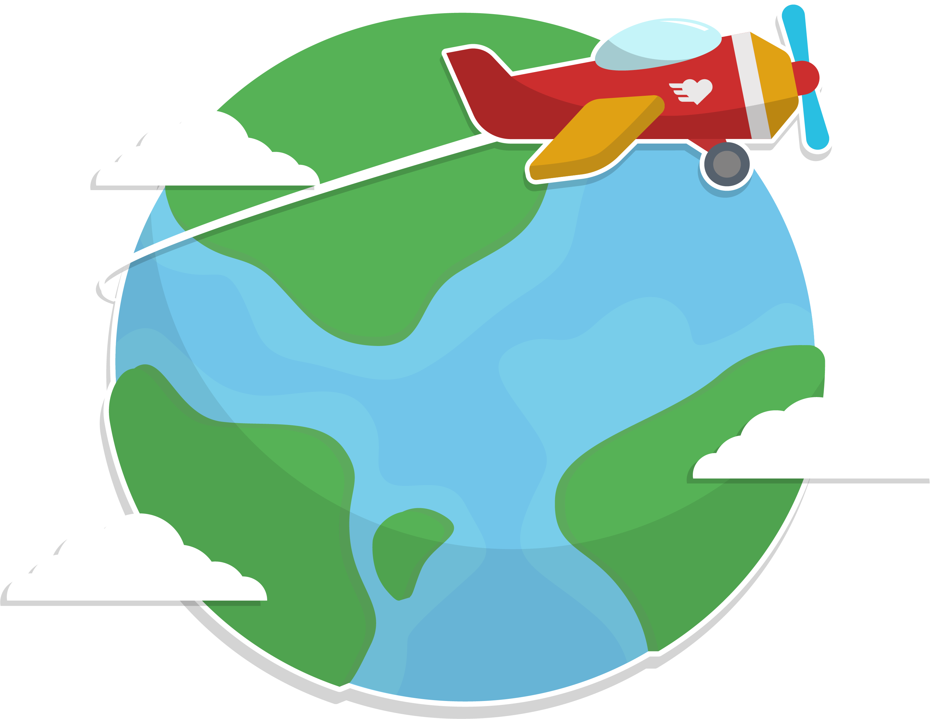 Airplane animation sitting on. Clipart earth travel