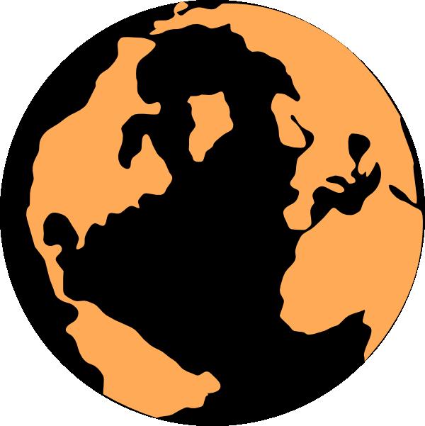 Orange and black globe. Clipart earth vector