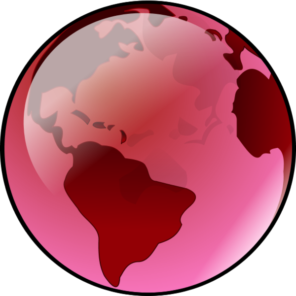 Globe pink pencil and. Clipart earth vector