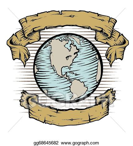 Clipart earth vintage. Vector art drawing gg