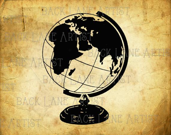 Globe lineart illustration instant. Clipart earth vintage