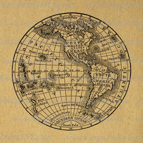 Digital printable antique globe. Clipart earth vintage