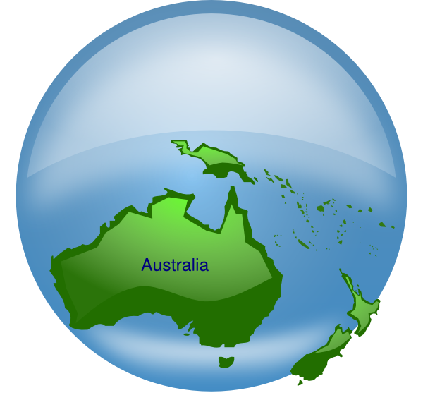 Clipart earth water. Australia on globe clip
