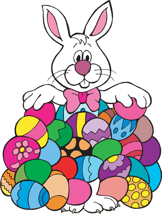 Bunny with eggs panda. Volunteering clipart easter