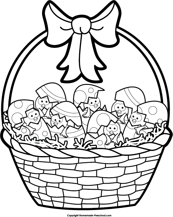 clipart easter black and white