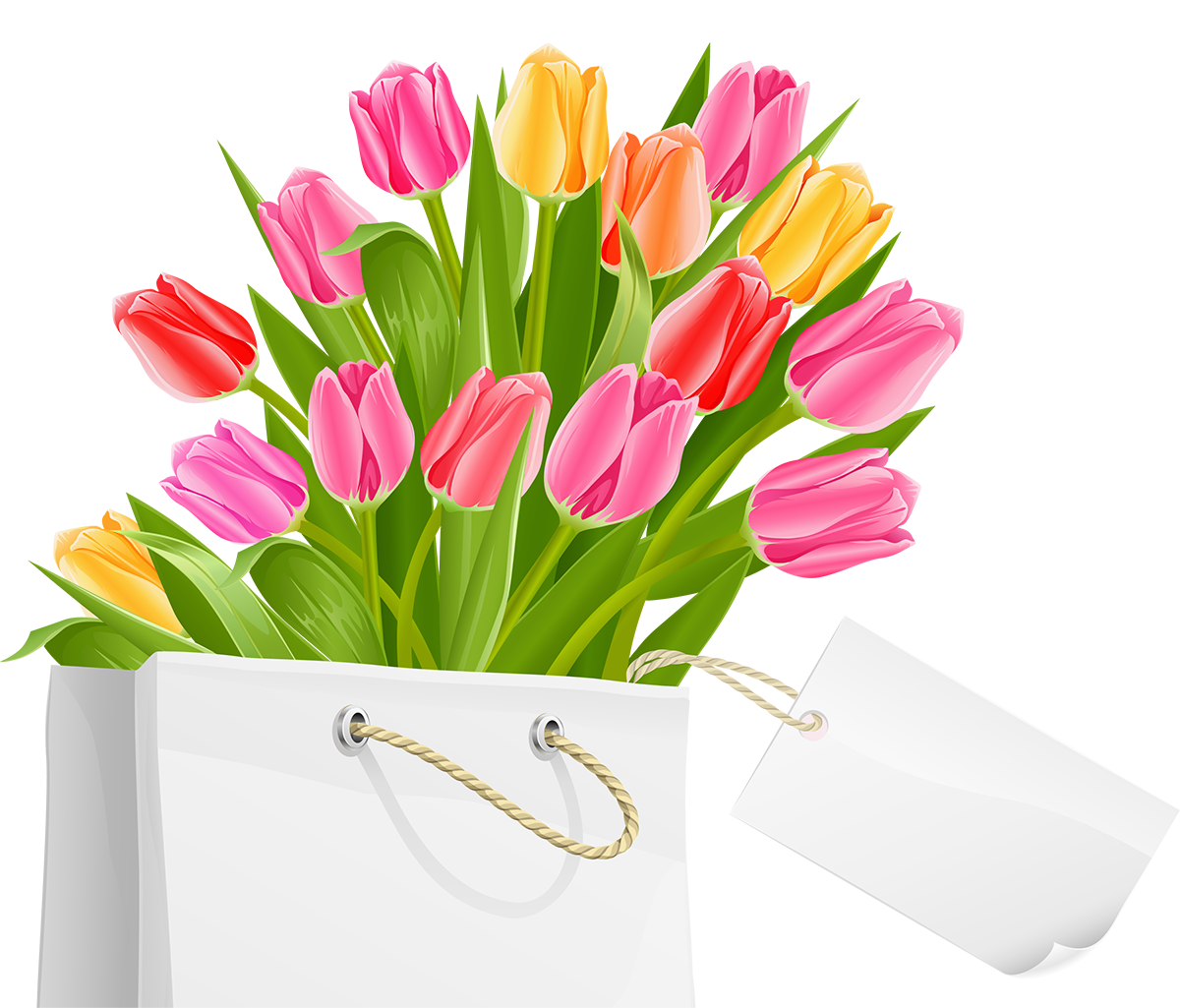 Clipart easter bouquet. Spring bag with tulips