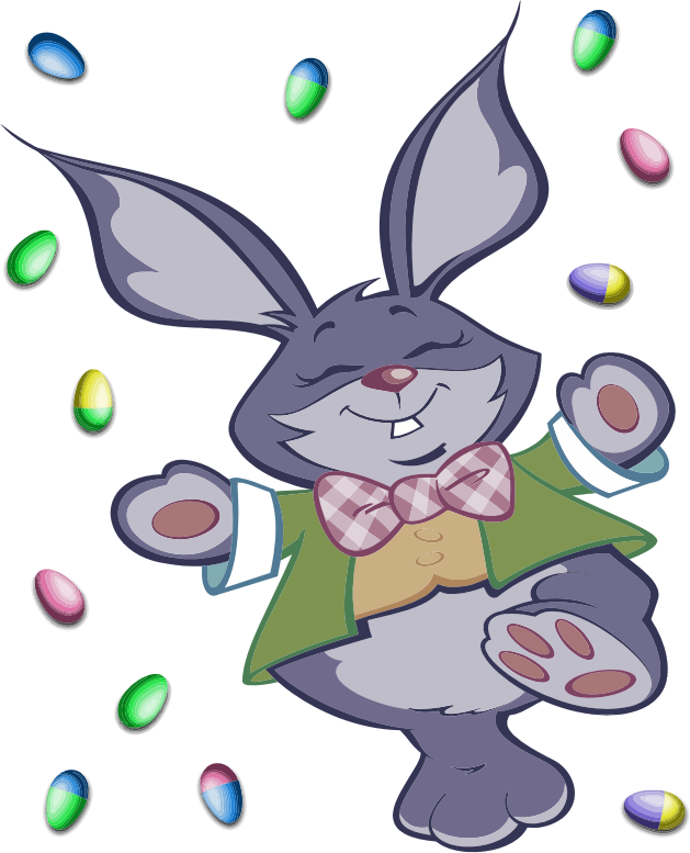 Bunny and eggs medium. Clipart easter character