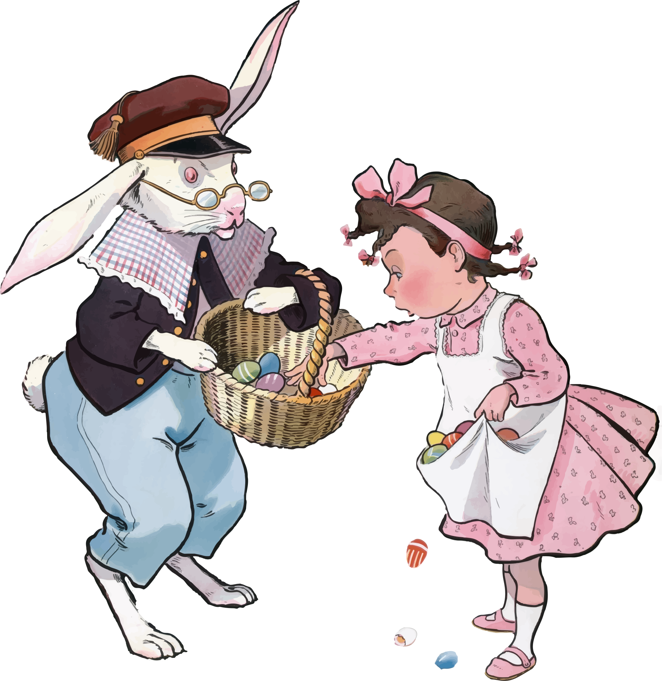 Vintage bunny and girl. Clipart easter character
