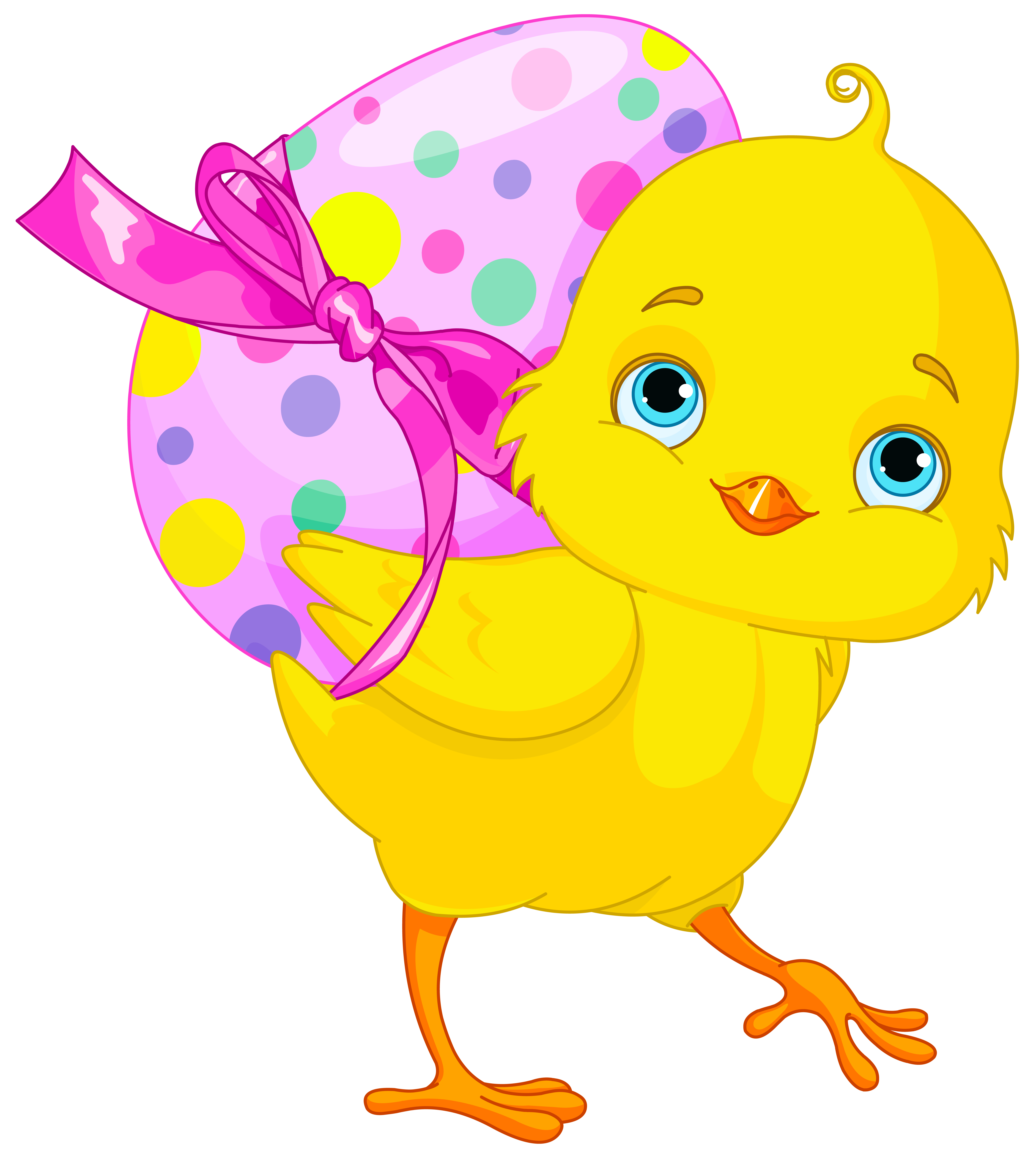 Chicken with pink egg. Chick clipart easter