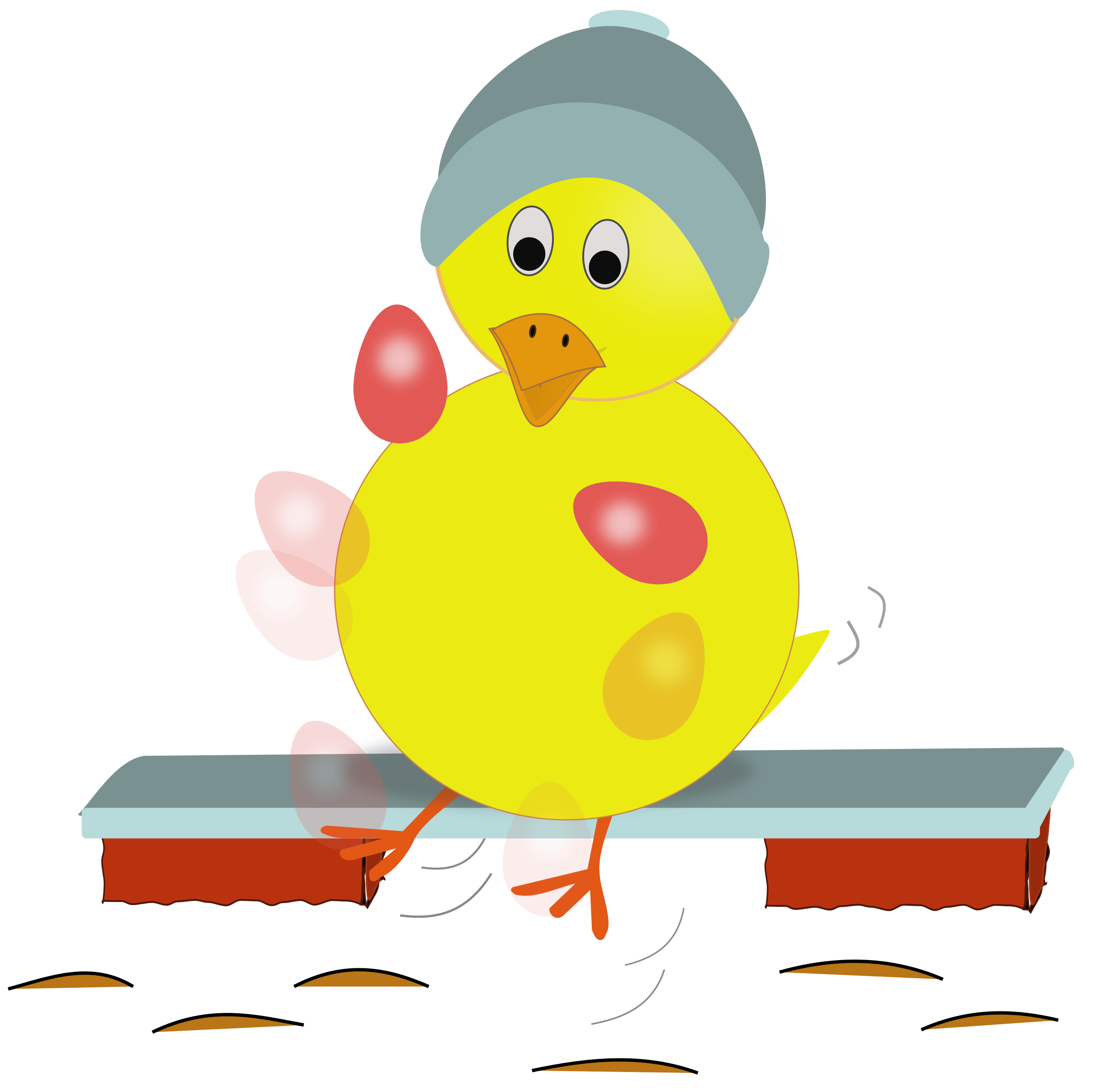 Chick kicking eggs big. Clipart hat easter