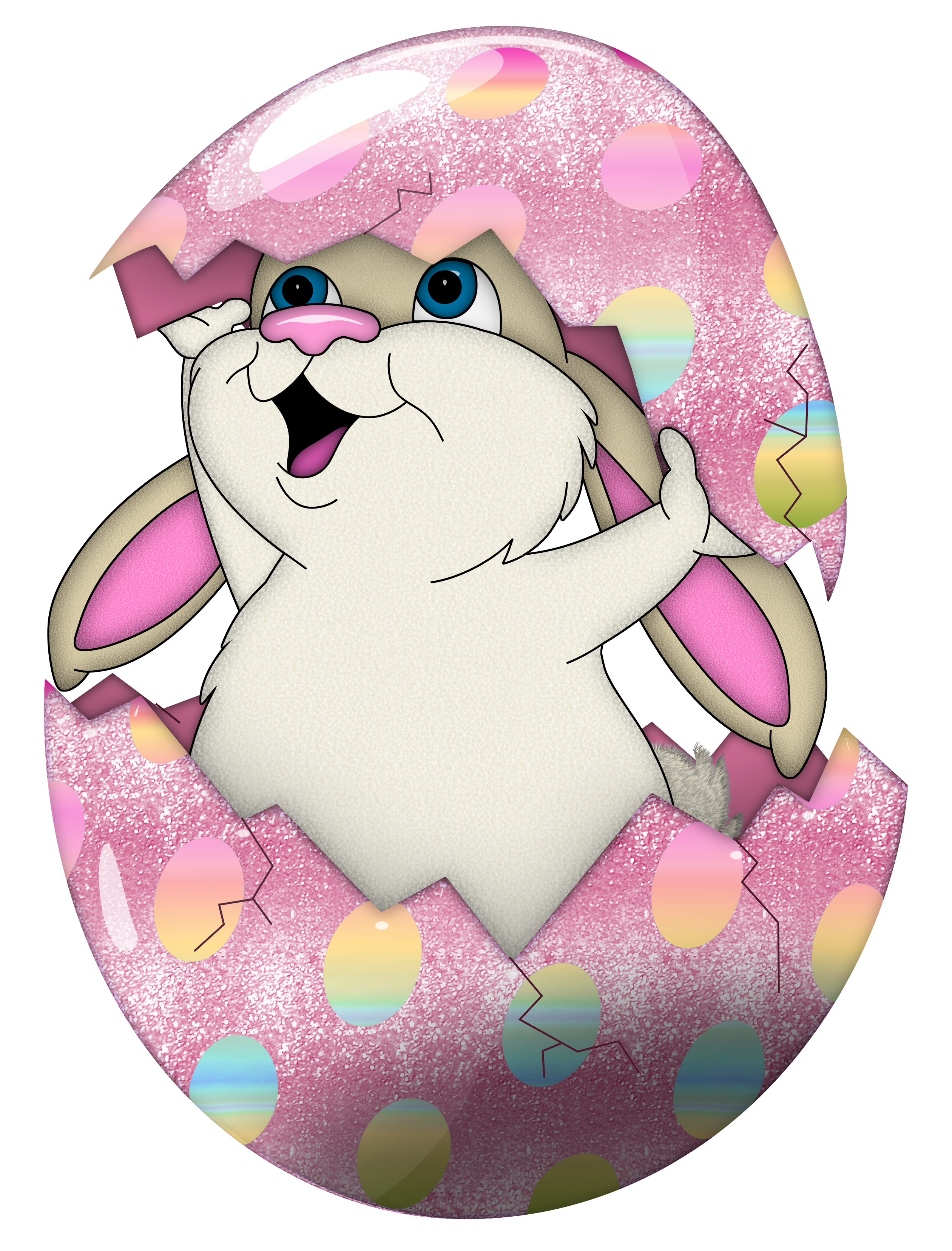 Cute bunny in egg. Clipart hat easter