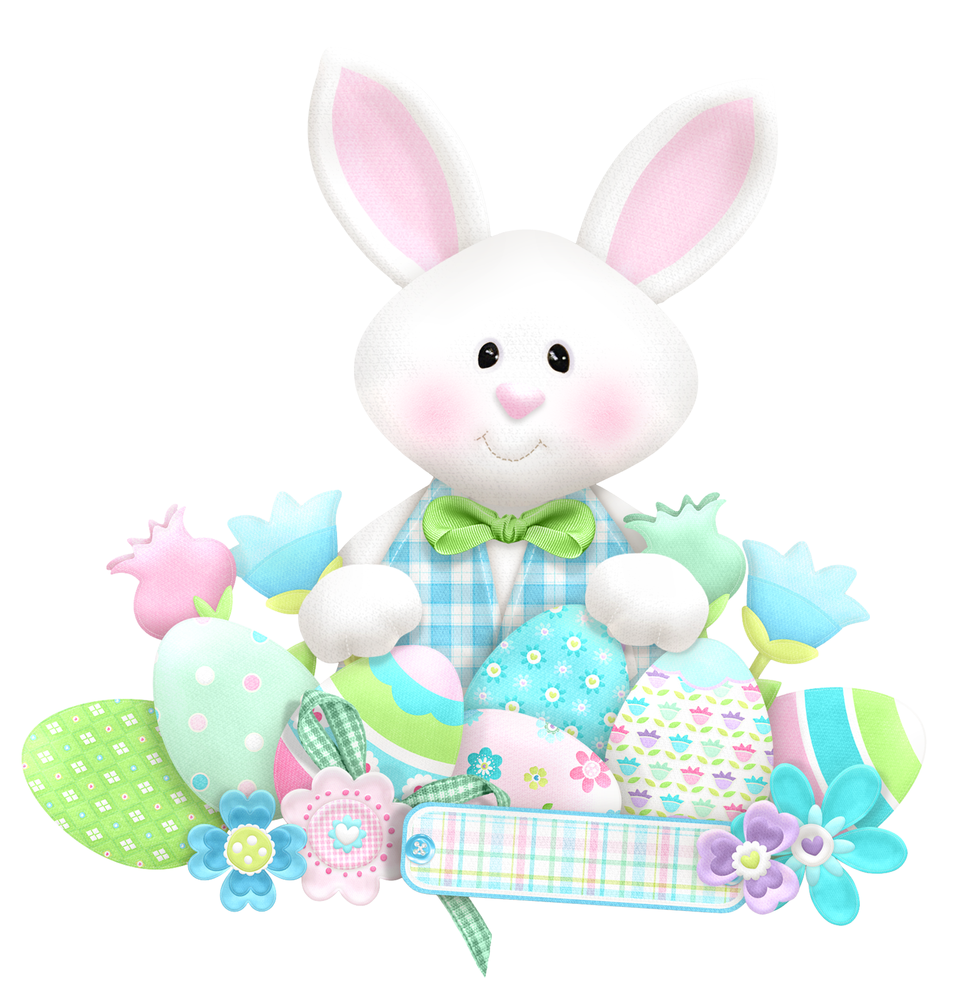 Easter cute with eggs. Clipart grass bunny