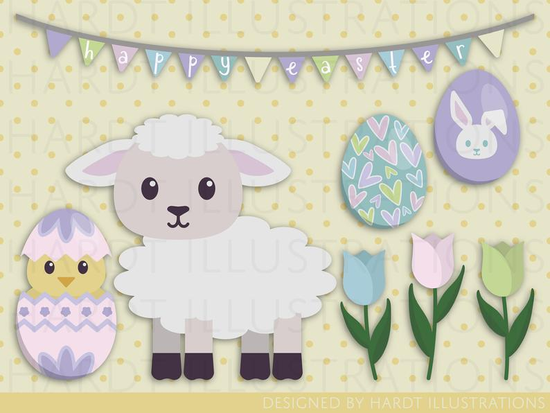 Clipart easter decoration. Images eggs lamb happy