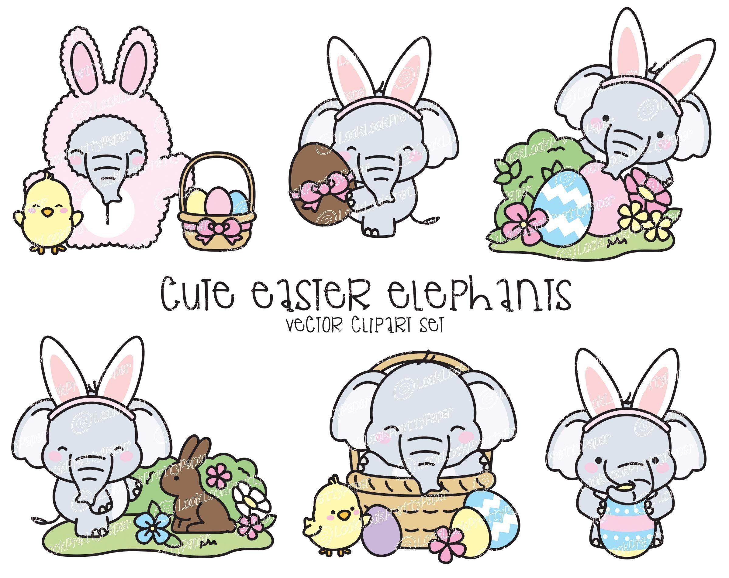 Premium vector kawaii elephants. Clipart elephant easter