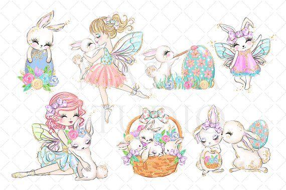 Fuzzy fairy bunny . Fairies clipart easter