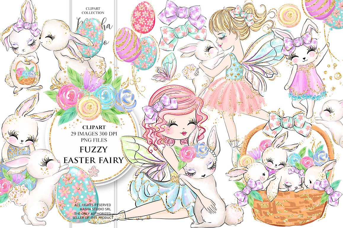 Fairies clipart easter. Fuzzy fairy